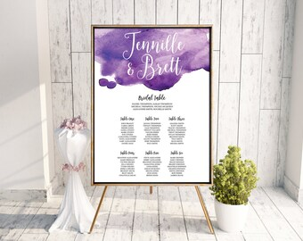 Wedding Seating Plan // Seating Chart, Welcome Sign, Printable Sign, Seating Plan, Digital Wedding Stationery, Watercolour Wedding