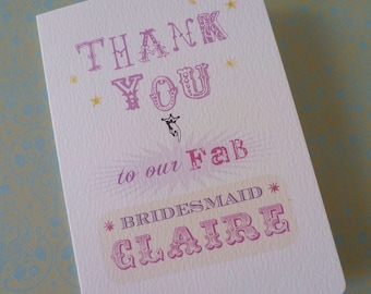 Bridal Party thank you cards Pack of 6