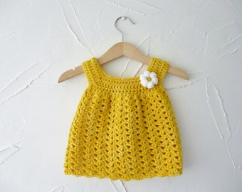 Baby sundress -  sunshine yellow - 0 -3  months - crochet dress - beautifully soft organic wool - daisy embellishment