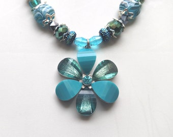 Hand Made Necklace and Earring Set, with Swarovski Crystals and Glass Beads