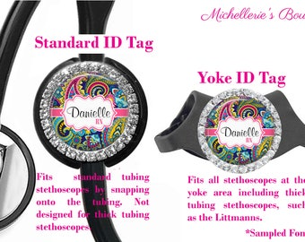Bling Personalized Stethoscope ID tag, Paisley Stethoscope Id Tag, Stethoscope Name Id tag,Stethoscope Name Tag, MB375