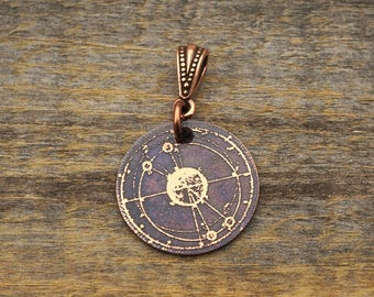 Small copper galaxy pendant, round etched jewelry, 22mm