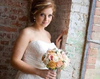Romantic Wedding Bouquet -Natural Bridal Bouquet, Keepsake Alternative Bouquet, Shabby Chic Rustic Wedding