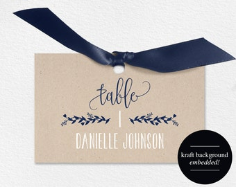 Wedding Place Cards, Wedding Place Card Printable, Place Card Template, Wedding Printable, Navy Blue Wedding, PDF Instant Download #BPB219_6