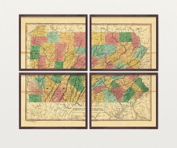 Pennsylvania Map - Antique Map - Archival Reproduction - Pennsylvania - Pennsylvania Art - Pennsylvania Poster - Pennsylvania Wall Art
