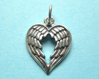 Angel Wing Heart Pendant in Sterling silver with Two Wings Forming a Heart