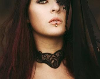 Elegant neckace GOTHIC VAMPIRE Glamour CHOKER, necklace, black guipure, Halloween, prom, New Year's Eve