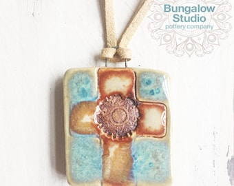 Stoneware Essential Oil Diffuser Necklace, Ceramic Aromatherapy Pendant, Cross Pendant Necklace