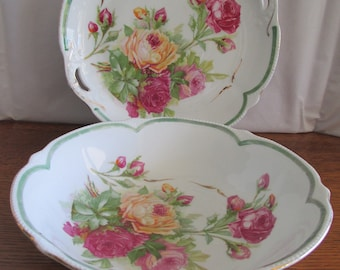 Antique Matching Bowl and Biscuit Plate