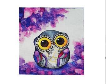 Patchwork owls fabric coupon