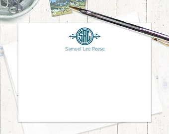 personalized flat note cards set - CIRCLE 3-LETTER MONOGRAM - set of 12 - personalized stationery - monogrammed stationary cards