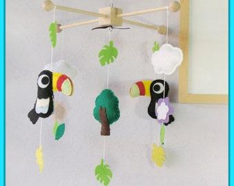 Toucan Baby Mobile, Baby Mobile, Baby Crib Mobile, Tropical Birds Mobile, Birds Baby Mobile, Rainforest Cot Mobile, Safari theme
