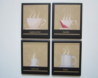 Coffee 4 Cups beige tan, Kitchen wall decor sigs, Mocha Espresso Latte Cappuccino, wooden plaque set