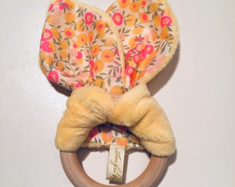 Teething ring / rattle / mmontessori / liberty. French manufacturing