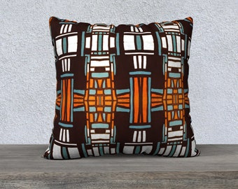 Mid Century Tiki Pillow Cover, Throw Pillow, Sofa Pillow, Canvas or Velveteen
