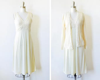 vintage 70s empire waist dress, 1970s light yellow disco dress, crochet lace dress with cardigan jacket, extra small xs