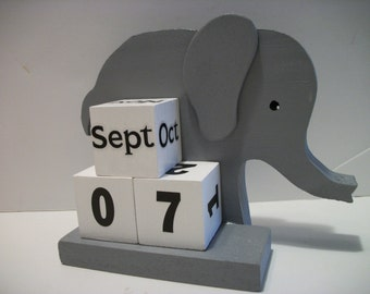 Elephant Calendar Perpetual Wood Block Grey Elephant Decor