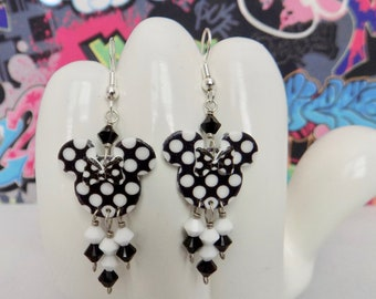 Minnie Mouse Black and White Double Sided Polka Dot Bow Dangle Earrings