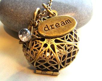 Dream Essential Oil Diffuser Necklace, Customized Birthstone Scent Diffuser, Aroma Therapy Pendant