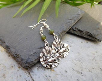 Frog on a lilypad drop earrings. Silver frog on pad charms with a Moss Agate bead.