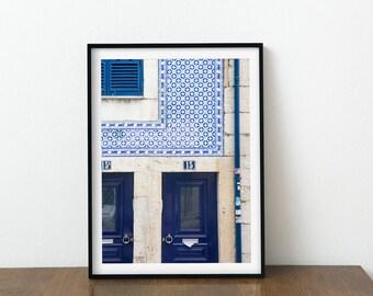 Blue Door Photography Print - Lisbon Portugal Art Print - Portuguese Tile Home Decor - Blue Wall Art