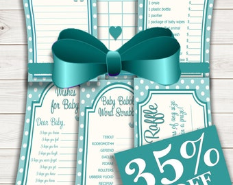 Baby Shower Games Value Pack Turquoise Elephant~Printable~INSTANT DOWNLOAD