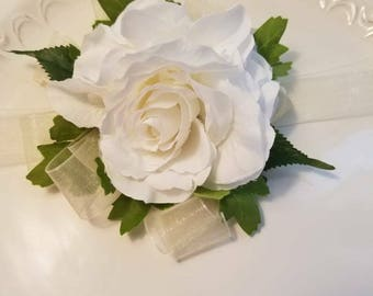 Ivory and White Wedding  Corsage
