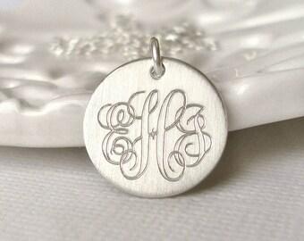 Men's Classic Sterling Silver Monogram Necklace - Medium