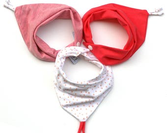 Baby girl set of 3 pink Bandanas bibs