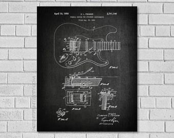 Guitar Art - Fender Tremolo Guitar - Fender Guitar Patent Print - Guitar Print - Guitar Blueprint - Fender Guitar Wall Art -  MG146