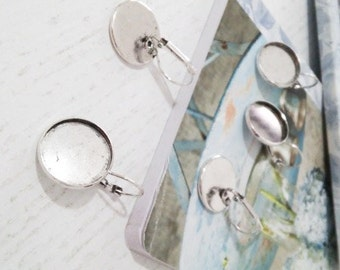Antique Silver Earrings Clips Round Cabochon Settings (Fits 18 mm) - 10 pcs