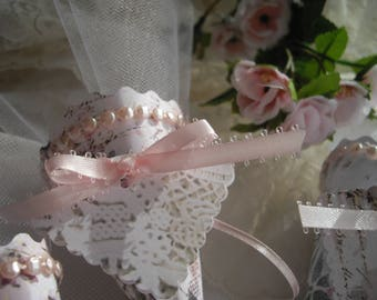 Bridal Shower Favor Place Card Tussie Mussie Pink Tea Party Garden Party Baby Table Number Tussie Mussie Shabby Chic Pearls Made in USA