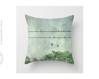 Birds on Wire Blue Green Bird Silhouette on Wire Birds Flying Green Trees Throw Pillow Cover