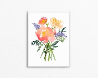 Floral print / flower prints / flower bouquet / flower painting / flower watercolor print / flower watercolor painting / watercolor painting