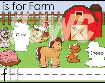 F is for FARM Alphabet File Folder Game - Downloadable PDF Only
