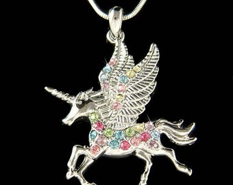 Rainbow Swarovski Crystal Pegasus Horn UNICORN Fairy Pendant Necklace Christmas Best Friend Gift New