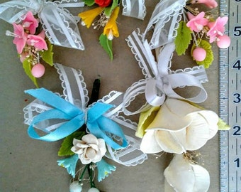 Vintage Handmade  Clay Flowers ~ Sprigs with Ribbon ~