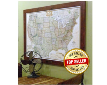 Personalized United States Earth-toned Push Pin Map With Brass Plate