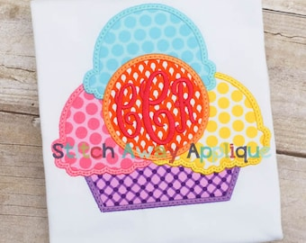 Monogram Circle Ice Cream Bowl Summer Machine Applique Design