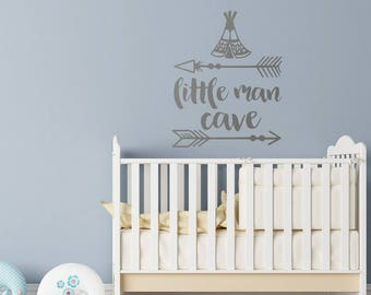 Little Man Cave Baby Nursery Wall Decal  Boys Room Wall Decal Nursery Decor   Wall