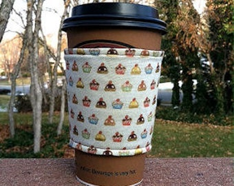 Fabric coffee cozy / cup holder / coffee sleeve  -- Cupcakes on beige