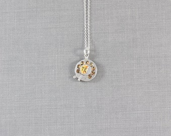 """Vintage """"I Love You"""" Sterling Silver Dial Charm Necklace, Small Round Rotary Pendant - Dial a Message"""