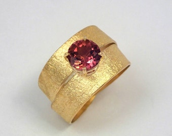 A double band gold engagement ring, Gold wrap ring with an exquisite pink tourmaline stone, 18k gold ring, Gold two band ring, Textured ring