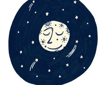 Moon Man - Art Print - 5x7, 8x10, 11x14 Nursery Art