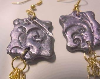 Jewelry Earrings purple polymer clay, fimo.