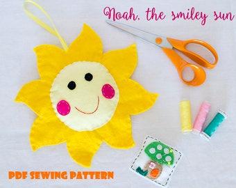 Noah, the smiley sun - PDF sewing pattern, felt sun, ornament, softie