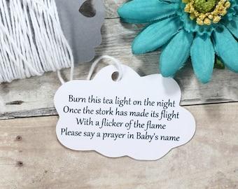 Cloud Themed Baby Shower Tags 20pc -  Custom White Favor Tags - White Neutral Baby Sprinkle - Burn This Light - Stork Poem - Prayer