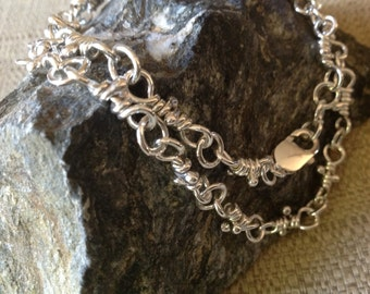 Handmade Heavy Sterling Artisan Chain Necklace, Sterling Silver Handcrafted Wire Wrapped Link Chain Necklace in Varying Lengths
