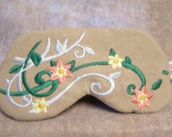 Embroidered Eye Mask, Sleeping, Cute Sleep Mask for Kids or Adults, Sleep Blindfold, Slumber Mask, Floral, Travel, Flower Design, Handmade
