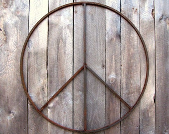 34 inch Peace Sign Wreath Large Metal Garden Sculpture